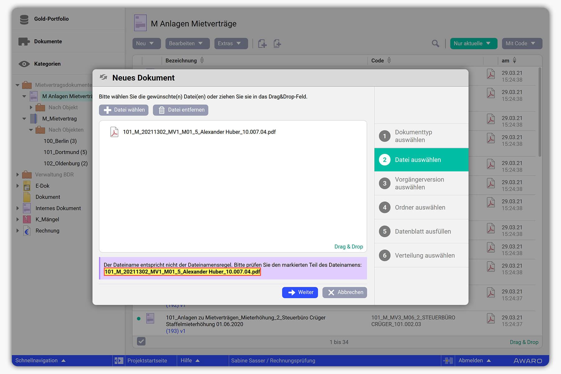 AWARO Life Cycle Datenraum Automatisierte Verschlagwortung und Sortierung